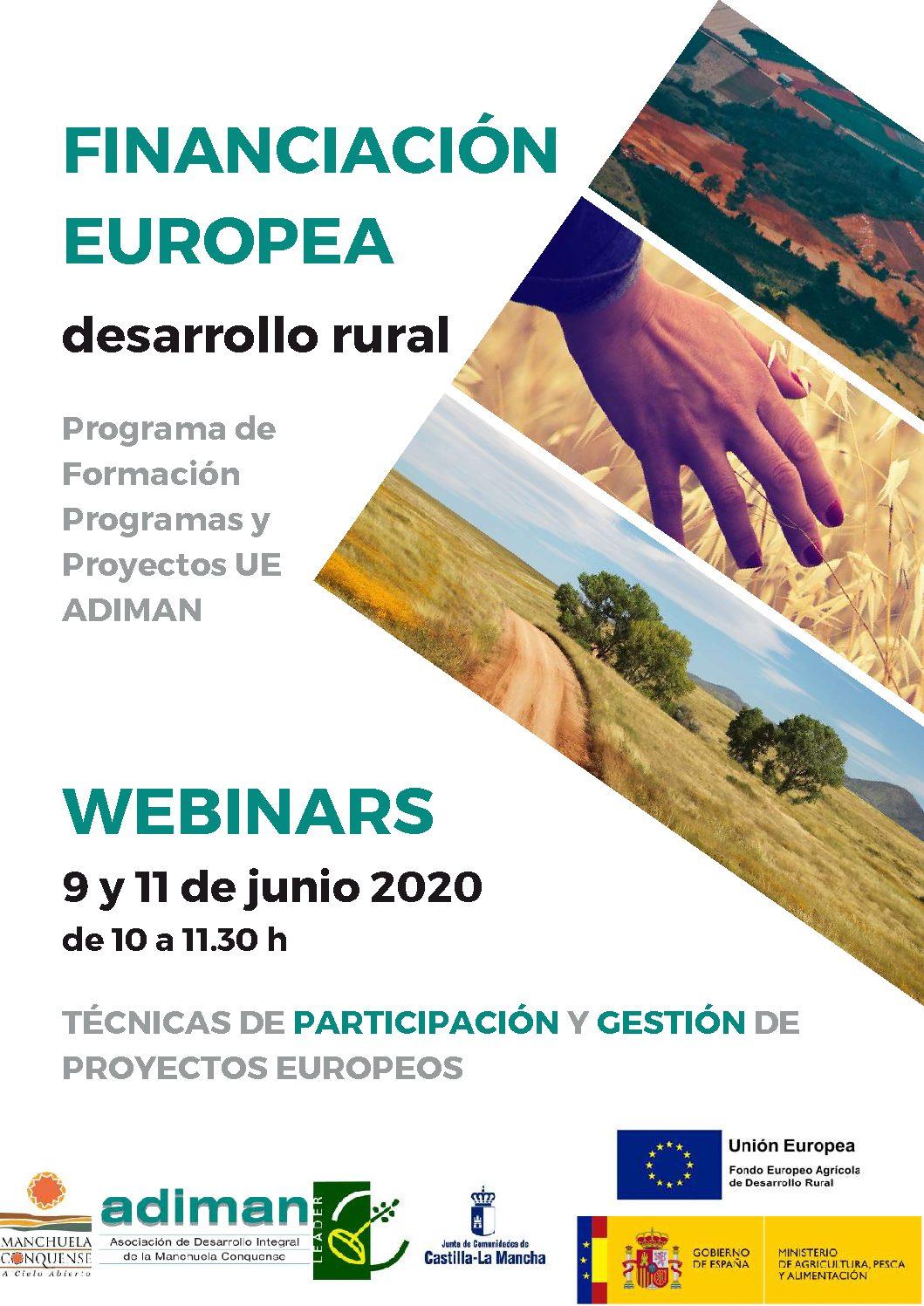 Adiman organiza dos seminarios gratuitos online sobre Técnicas de participación y Gestión de Proyectos Europeos