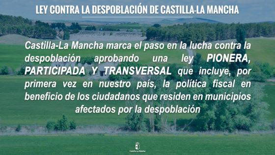"""Castilla-La Mancha marca el paso en la lucha contra la despoblación con una Ley """"pionera y transversal"""" que introduce la política fiscal"""